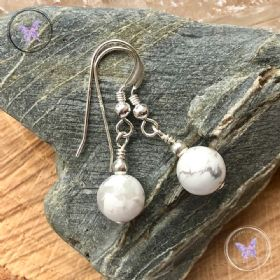 Classical Howlite Silver Earrings